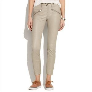 Madewell Leather Zipper Front Skinny pants taupe